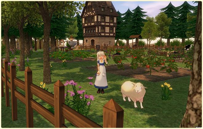 お婆さんの長閑な農場